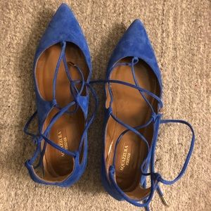 Aquazzura Christy lace up flat blue suede 38